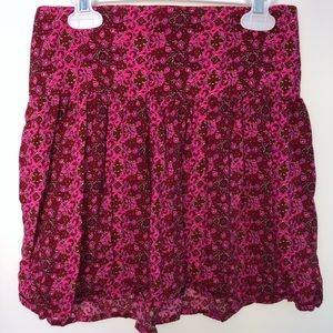 Hollister Pick and Red Floral Skirt Size Small